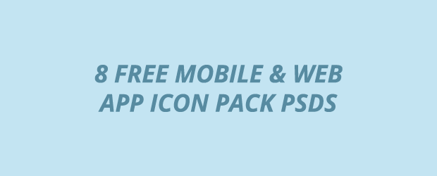 8 mobile and web app icon pack psds