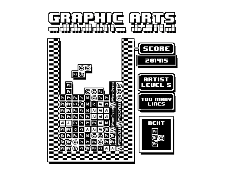 Graphic Arts Tetris Edition t-shirt