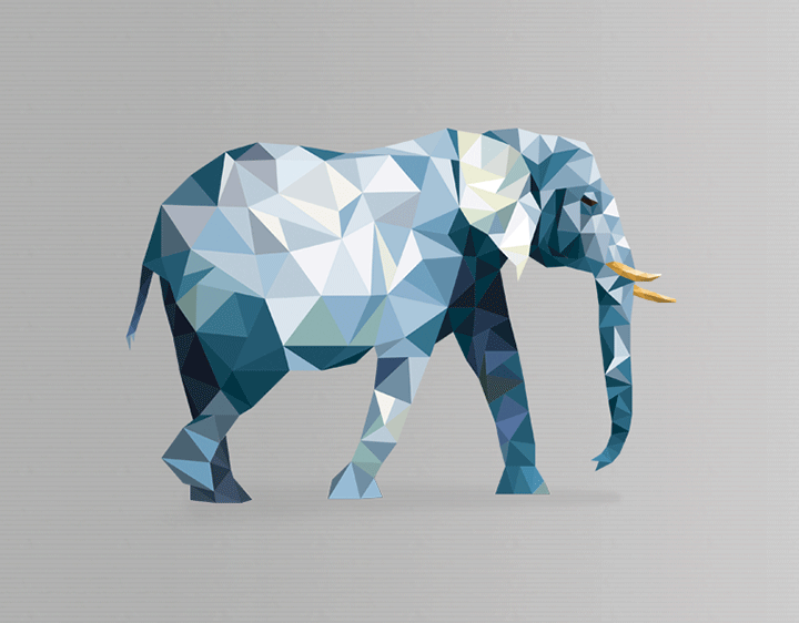 polygon elephant by pantonia