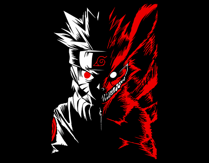 naruto two face t shirts for men and women   graphic tide