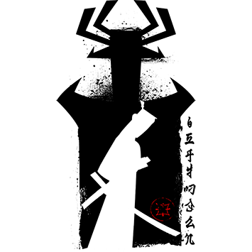 Samurai from Japan Black Ink Poster Style